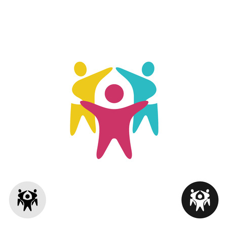 Illustration pour Three happy motivated people in a round colorful icon - image libre de droit