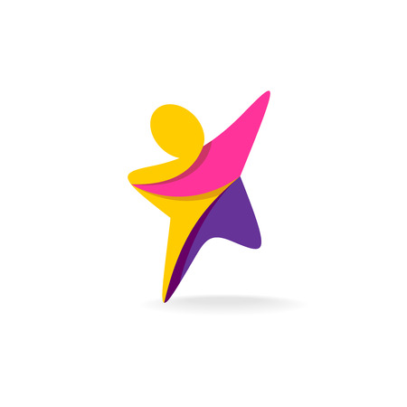 Illustration for Colorful star shaped man silhouette reaching up icon - Royalty Free Image