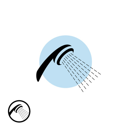 Ilustración de Shower head icon with water flow - Imagen libre de derechos