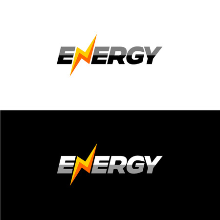 Illustration pour Energy text font dynamic icon with lightning instead of N letter. - image libre de droit
