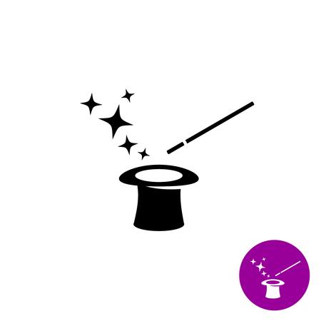 Ilustración de Magic wand with magician hat and stars black symbol - Imagen libre de derechos