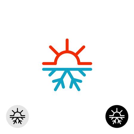 Ilustración de Hot and cold symbol. Sun and snowflake all season concept logo. - Imagen libre de derechos