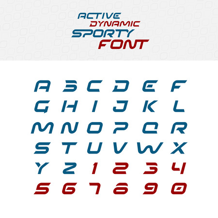 Illustration for Sport techno font alphabet letters. Skew italic dynamic typeface. Capital letters and numbers. - Royalty Free Image