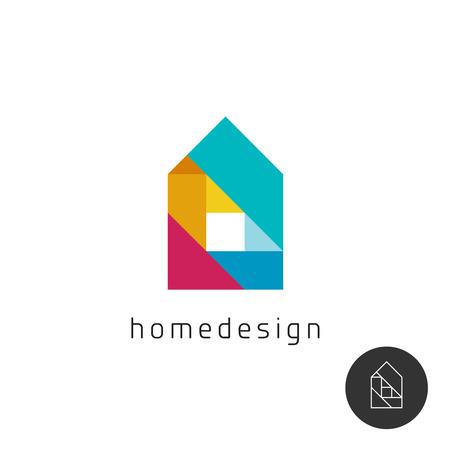 Ilustración de House design concept colorful rainbow geometric elements . - Imagen libre de derechos
