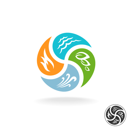 Illustration pour Four natural elements . Fire, water, air wind and nature power. - image libre de droit