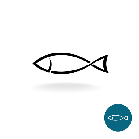 Illustration for Fish simple black linear silhouette elegance template - Royalty Free Image