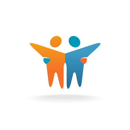 Illustration for Two friends . People teamwork concept symbol. - Royalty Free Image