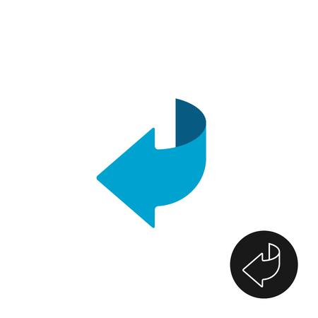 Ilustración de Page turn or back arrow flat and linear icon - Imagen libre de derechos