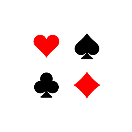 Illustrazione per Playing card suits signs set. Four card symbols. - Immagini Royalty Free