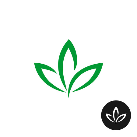 Illustration for Three green leaf vector icon. Natural plant symbol. - Royalty Free Image