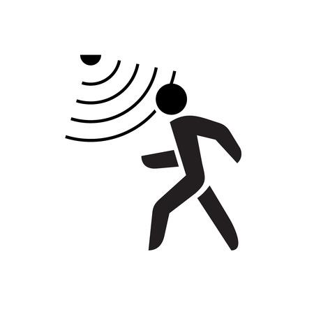 Ilustración de Walking man symbol with motion sensor waves signal. - Imagen libre de derechos