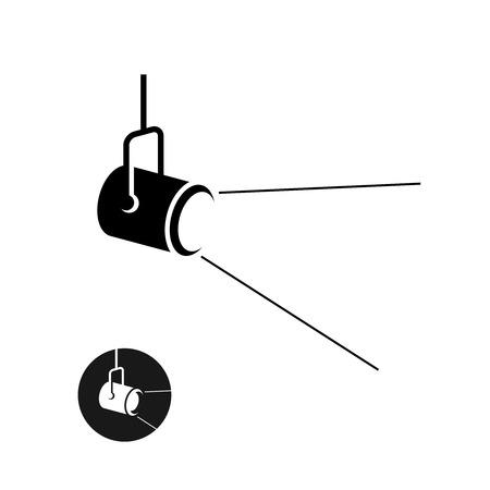 Illustration pour Spotlight black silhouette icon with light scattered rays - image libre de droit