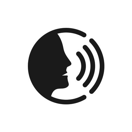 Illustration pour Voice command control with sound waves icon. Black man head silhouette speaking logo. - image libre de droit
