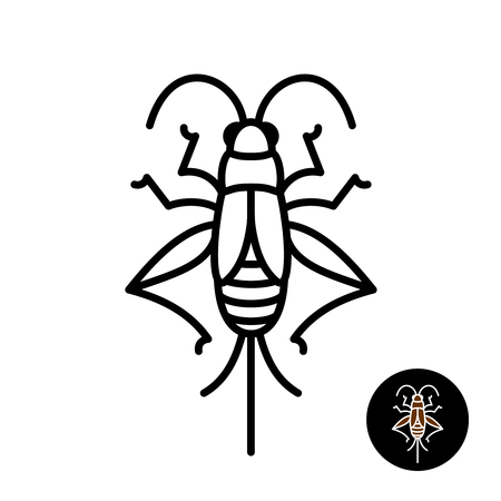 Illustration pour Cricket insect stylized. Grashopper relative bug linear style icon. Black stroke top view design. - image libre de droit