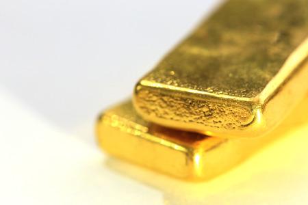Photo for Shiny Gold Bar on White Background - Royalty Free Image