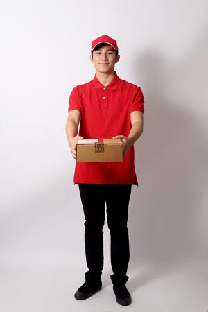 Photo pour The Asian postman on the white background. - image libre de droit