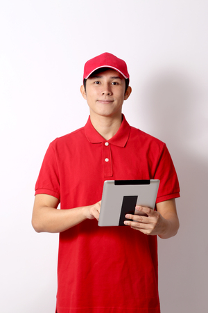 Photo for The Asian postman on the white background. - Royalty Free Image