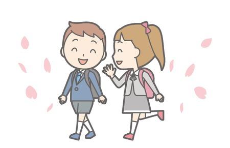 Illustration of entrance ceremony at elementary school vol.07