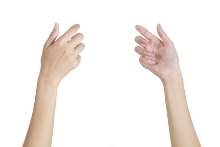 Foto de Woman's hands holding something empty front and back side, isolated on white background. - Imagen libre de derechos