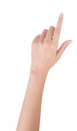 Foto de Woman hand pointing up with index finger or touching screen, back hand side, isolated on white background. - Imagen libre de derechos