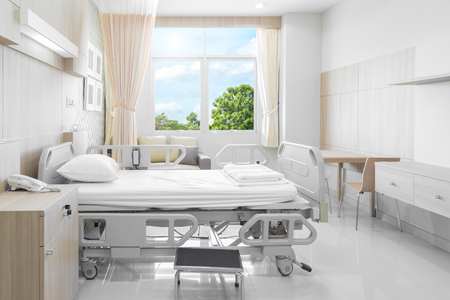 Photo pour Hospital room with beds and comfortable medical equipped in a modern hospital - image libre de droit