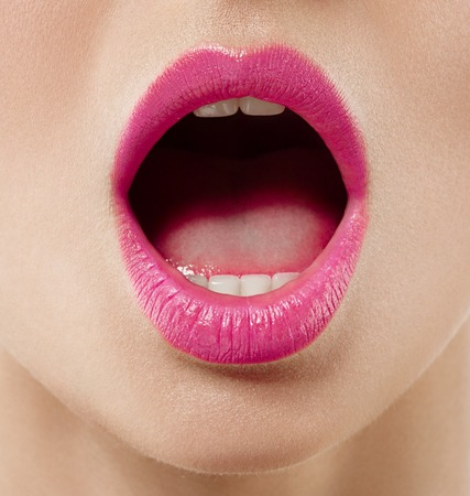 Photo for Open mouth woman close up. Studio shot. - Royalty Free Image