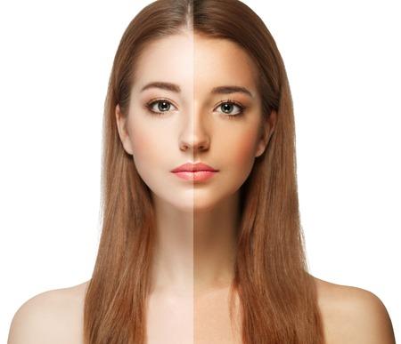 Photo pour woman tan half face beautiful portrait spray. Studio shot. - image libre de droit
