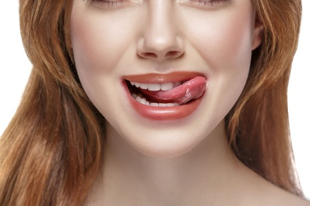 Photo for Woman natural tongue open mouth. Studio shot. - Royalty Free Image