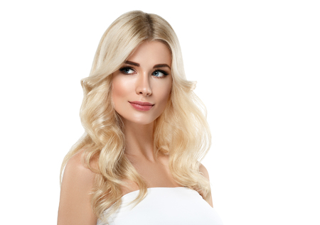 Photo for Blonde Woman Beautiful Portrait. Cosmetic concept, platinum Blond Hair Model Girl. Studio shot. Isolated on white. - Royalty Free Image