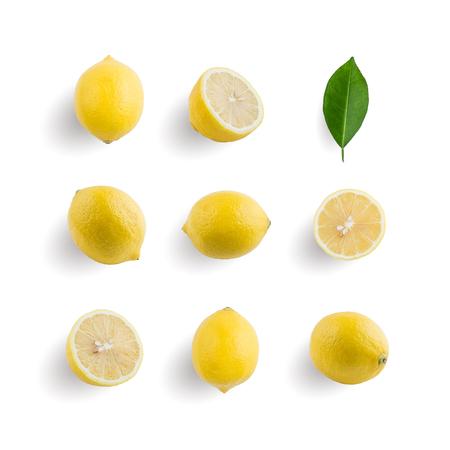 Foto de Seamless pattern with tropical fruit. Lemon isolated on white background. Collection - Imagen libre de derechos