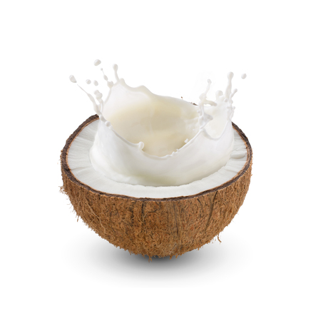 Photo for Cracked half of tropical fruit, Coconut with milk splash on white background - Royalty Free Image