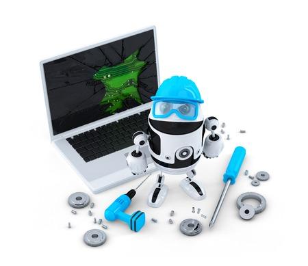Foto de Technician fixing laptop.  Technology concept. Isolated on white  - Imagen libre de derechos