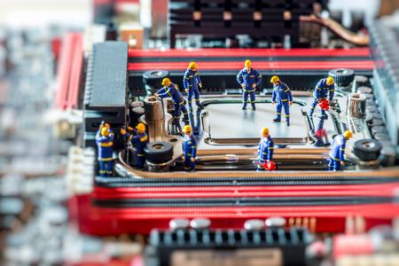 Photo pour Group of Technicians repairing CPU. Technology concept. Macro photo - image libre de droit