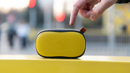 Photo for Modern portable wireless music speaker - Royalty Free Image
