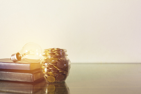 Photo pour Saving money concept light bulb on books with money in the bottle glass growing for business sepia style. - image libre de droit