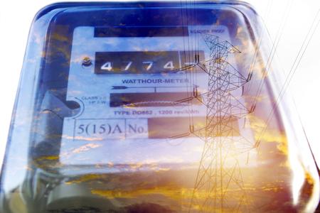 Foto de Electric power meter measuring power usage. Watt hour electric meter measurement tool. - Imagen libre de derechos