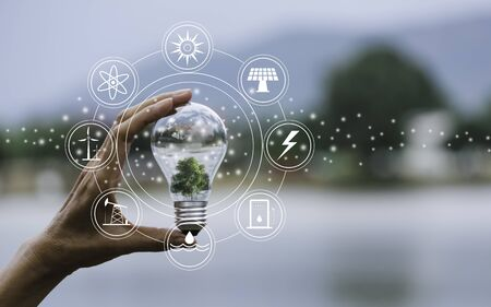 Photo pour Innovation and energy concept of hand hold a light bulb and copy space for insert text. - image libre de droit