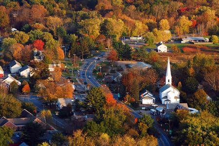 Foto de Aerial View of a Quaint New England Town - Imagen libre de derechos