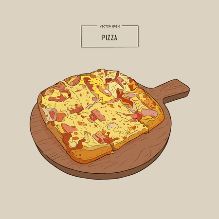 Illustration pour Pizza on the wooden board hand draw sketch design illustration. - image libre de droit