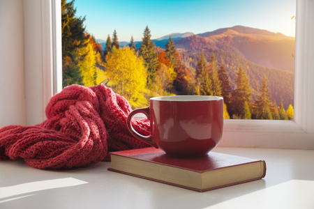Photo pour window with autumn leaves, a book, a mug of tea - image libre de droit