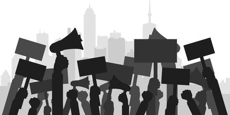 Ilustración de Concept for protest, revolution or conflict. Silhouette crowd of people protesters. Flat vector illustration. - Imagen libre de derechos