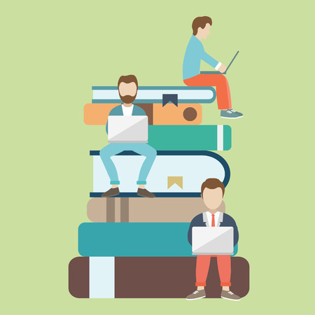 Ilustración de Flat vector illustration of people sitting on the big books and reading for self education. E-learning concept illustration of young people using laptop for distance studying and education. - Imagen libre de derechos