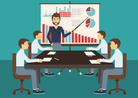 Illustration pour Business meeting, presentation or conference in office. Business people discussing about business plans concept. Flat vector illustration. - image libre de droit