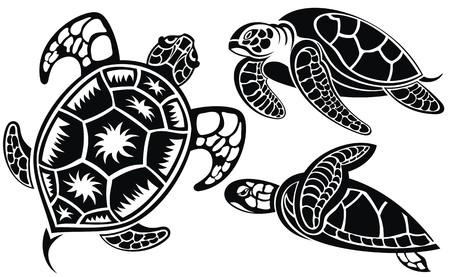 Illustration pour Vector illustration of turtles - image libre de droit