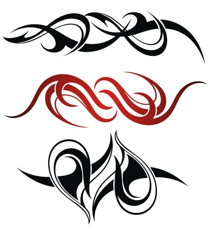 Illustration for Set of 3 different vector tribal tattoo - Royalty Free Image