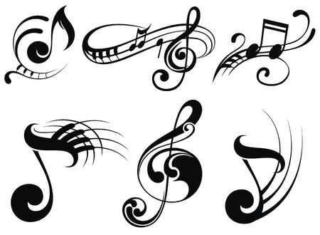 Illustration pour Music notes on staves - image libre de droit
