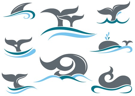 Illustration for Whale tail icons - Royalty Free Image
