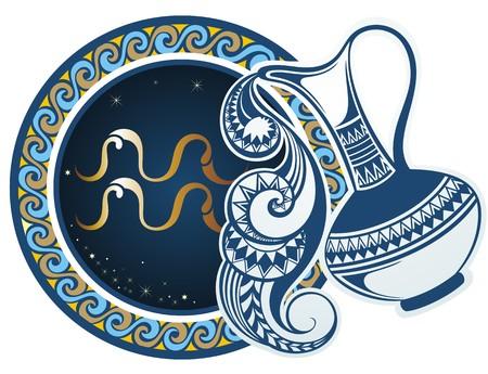 Illustration pour Zodiac signs - Aquarius - image libre de droit