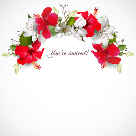 Illustration pour Invitation with hibiscus - image libre de droit