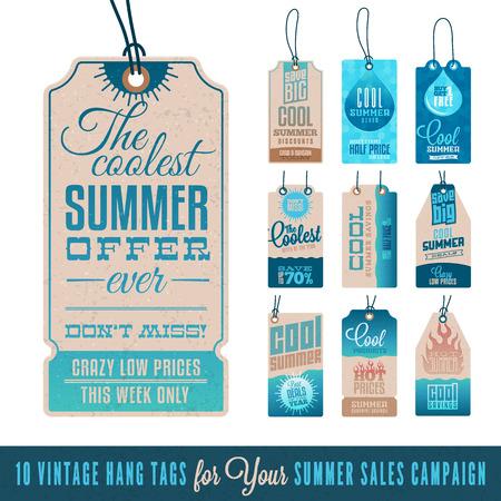 Illustration pour Collection of 10 Vintage Summer Sales Related Hang Tags - image libre de droit
